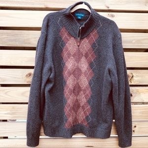 Lands' End Cashmere / Wool Argyle Cardigan Sweater